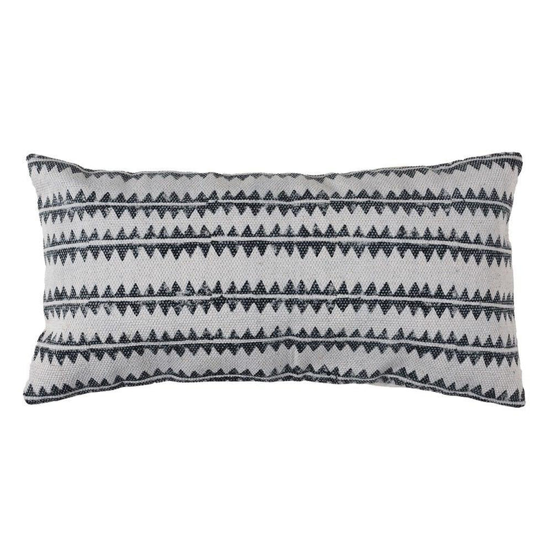 HomArt Block Print Lumbar Pillow - 12x24 - Sawtooth Stripe