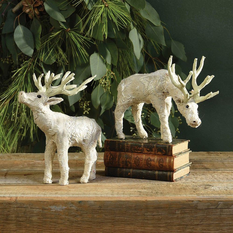 HomArt Scandinavian Stag Grazing - Embroidered White - Set of 2