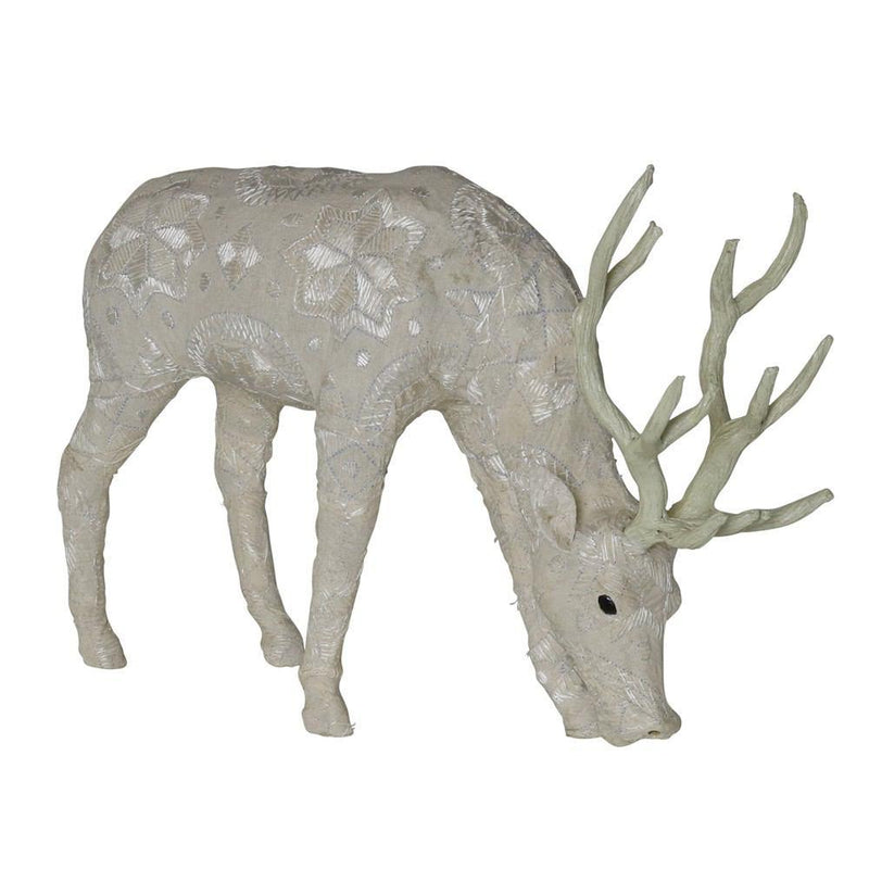 HomArt Scandinavian Stag Grazing - Embroidered White - Set of 2 - Feature Image
