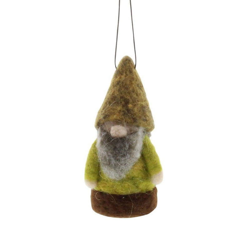 HomArt Felt Woodland Gnome Ornament - Green/Brown - Set of 6