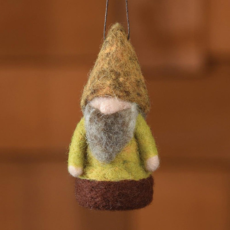 HomArt Felt Woodland Gnome Ornament - Green/Brown - Set of 6 - Feature Image