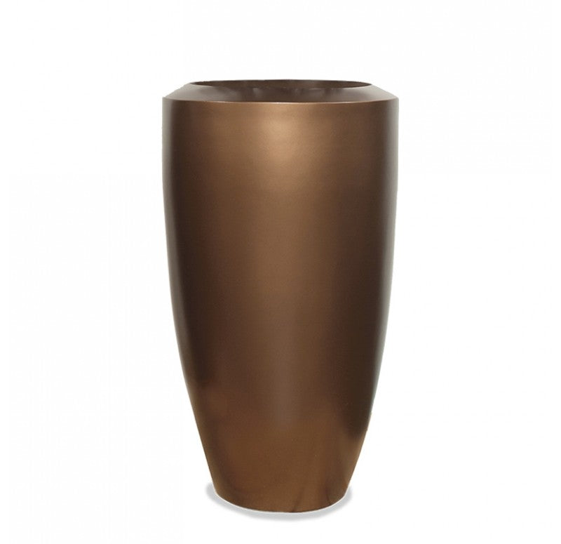 Fiberglass: Barrel Planter, Bronze Black by Gold Leaf Design Group