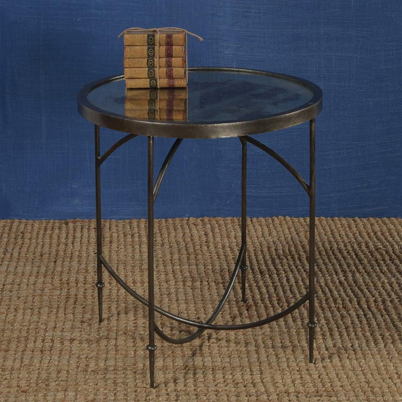 HomArt Carrefour Mirrored Side Table - Antique Nickle & Antique Mirror