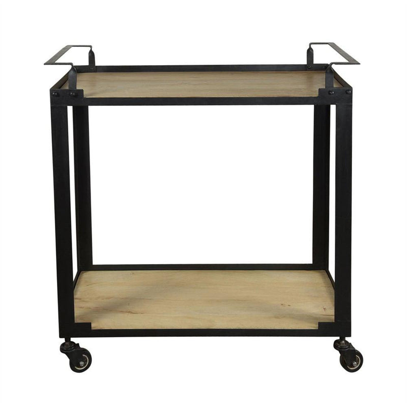 HomArt Mateo Bar Trolley - Iron and Wood - Black
