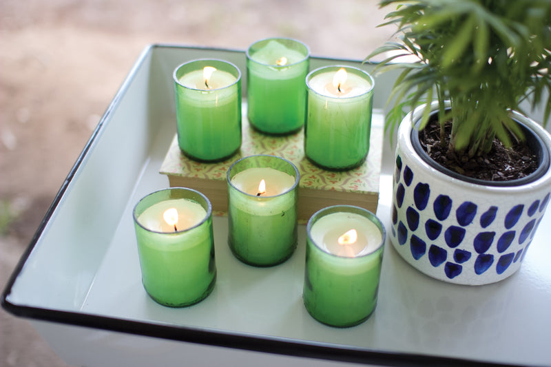 Kalalou Recycled Green Glass Bottle Candles