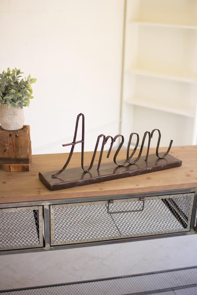 "Kalalou Recycled Metal ""Amen"" On A Stand"