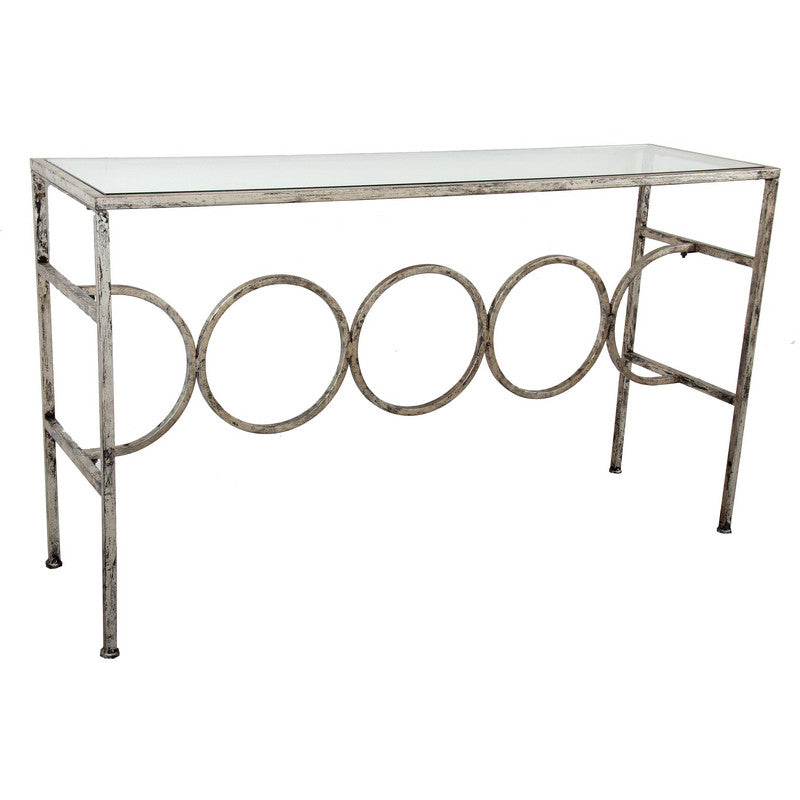 A&B Home Glass & Metal Console Table