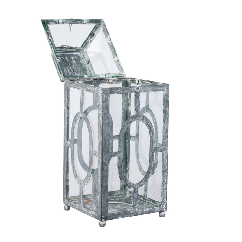 A&B Home Distressed Silver Finish Lantern
