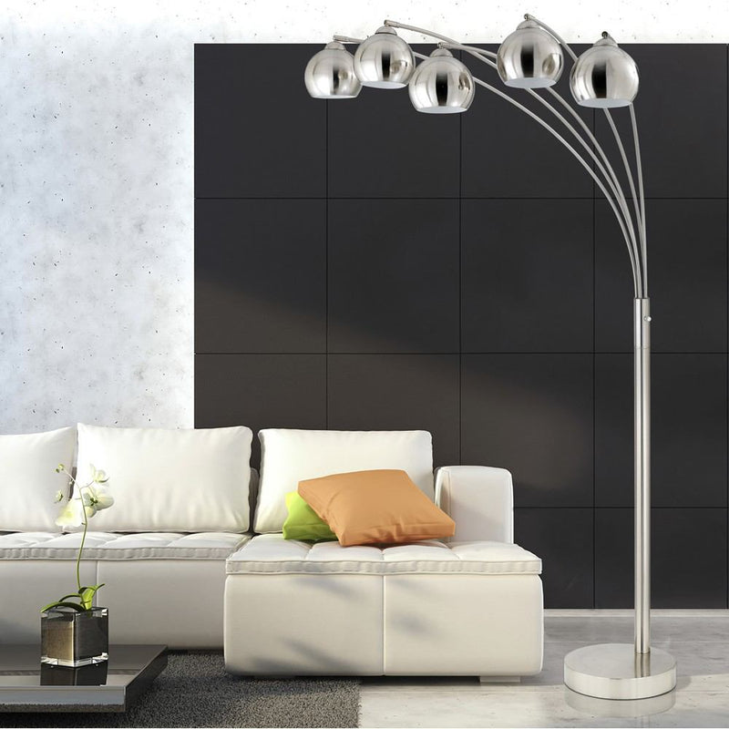 Cal Lighting BO-2030-5L-BS 60W X 5 Arc Floor Lamp