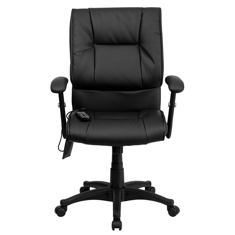 Flash Furniture Mid-Back Massaging Black Leather Executive Swivel Office Chair