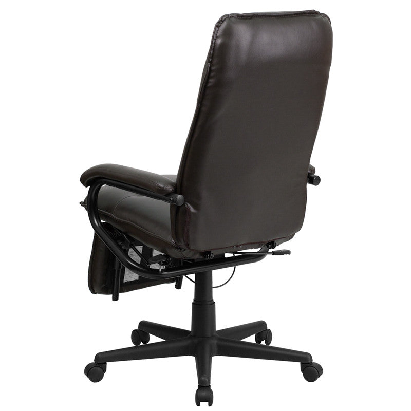 Flash Furniture High Back Brown Leather Executive Reclining Swivel Office Chair