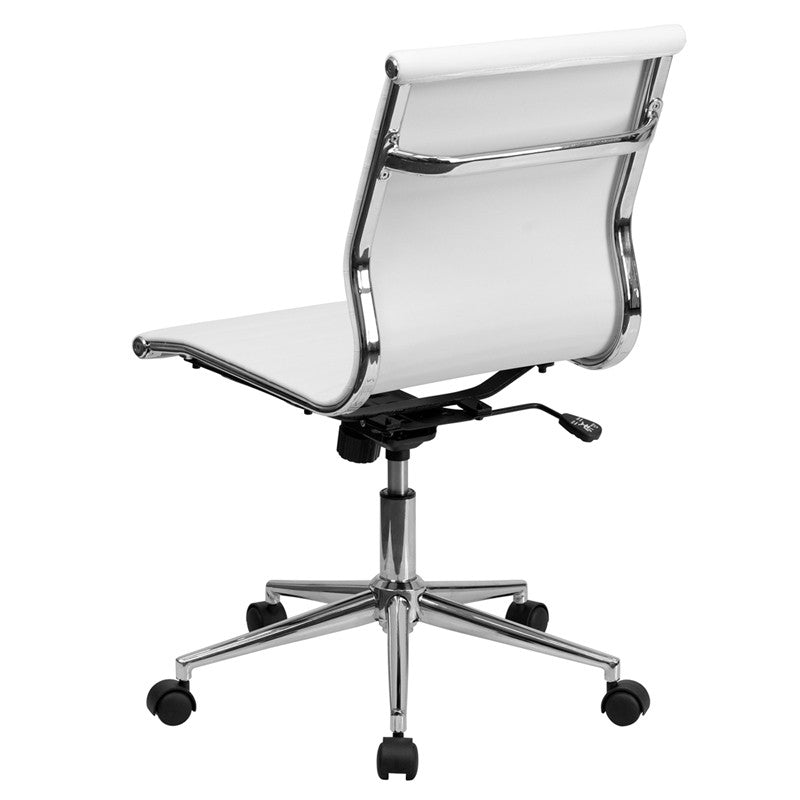 Flash Furniture Mid-Back Armless White Ribbed Upholstered Leather Swivel Conference Chair