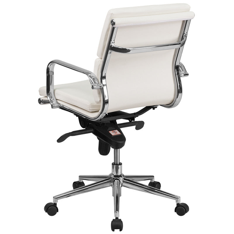 Flash Furniture Mid-Back White Leather Executive Swivel Office Chair With Synchro-Tilt Mechanism