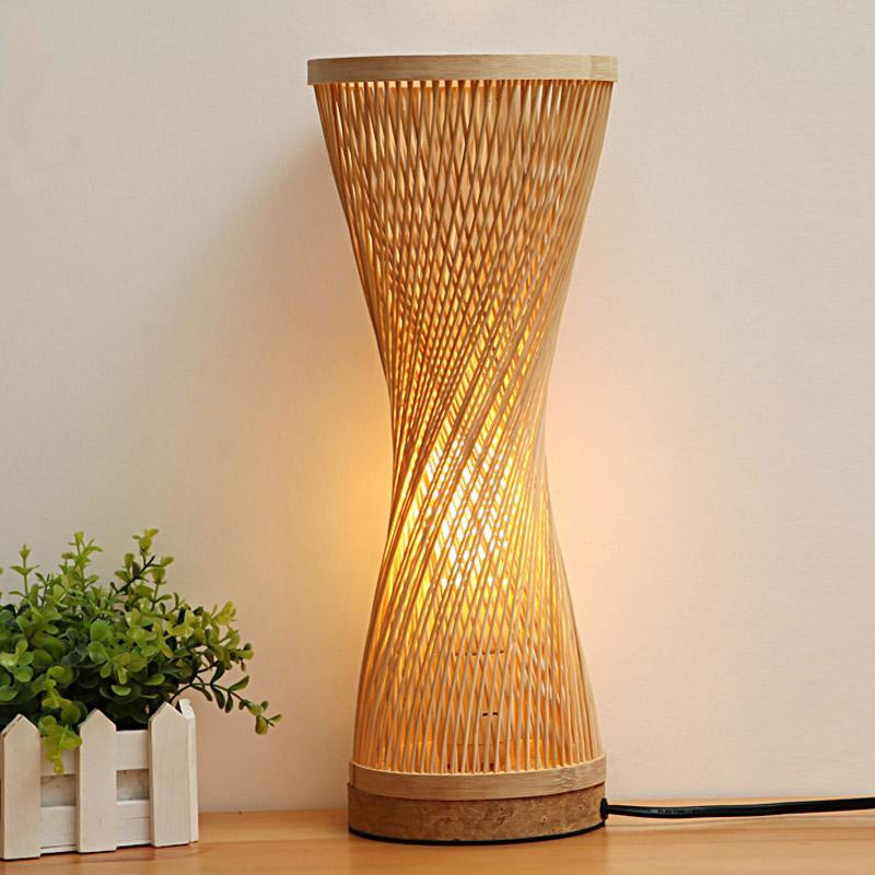 Bamboo Wicker Rattan Spire Vase Table Lamp by Artisan Living