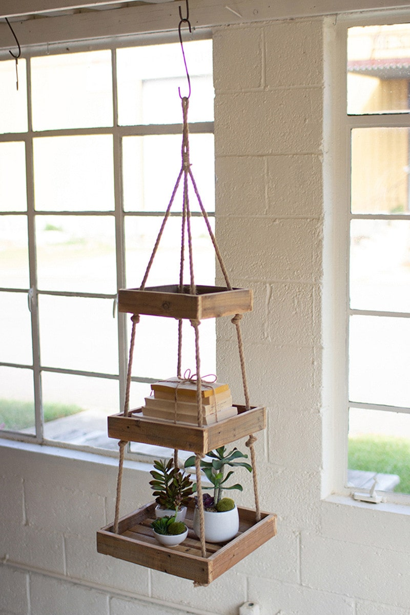 Hanging Three Tiered Square Recycled Wood Display With Jute Rope by Kalalou