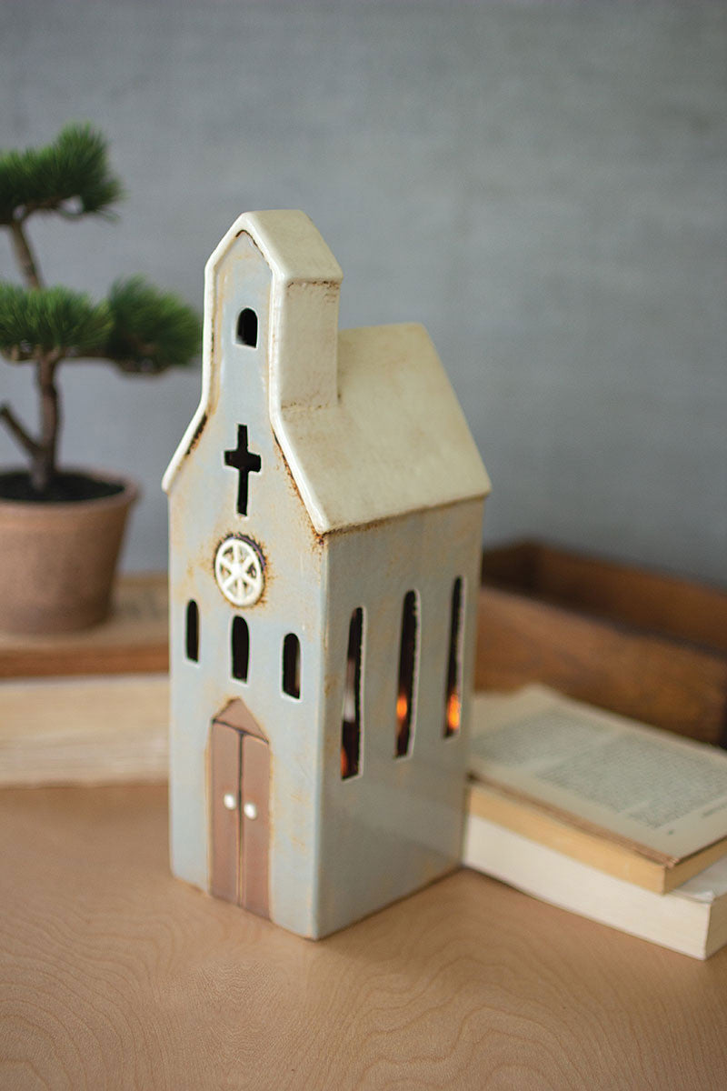 Ceramic Church Night Light Set Of 2 By Kalalou