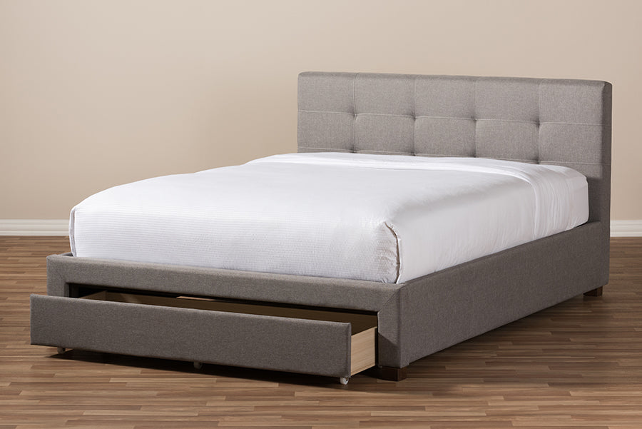 Baxton Studio Brandy Modern and Contemporary Grey Fabric Upholstered King Size Platform Bed with Storage Drawer