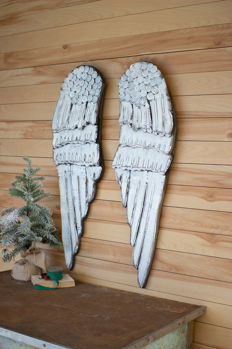 Kalalou Set of Two Painted Wooden Angel Wings - White