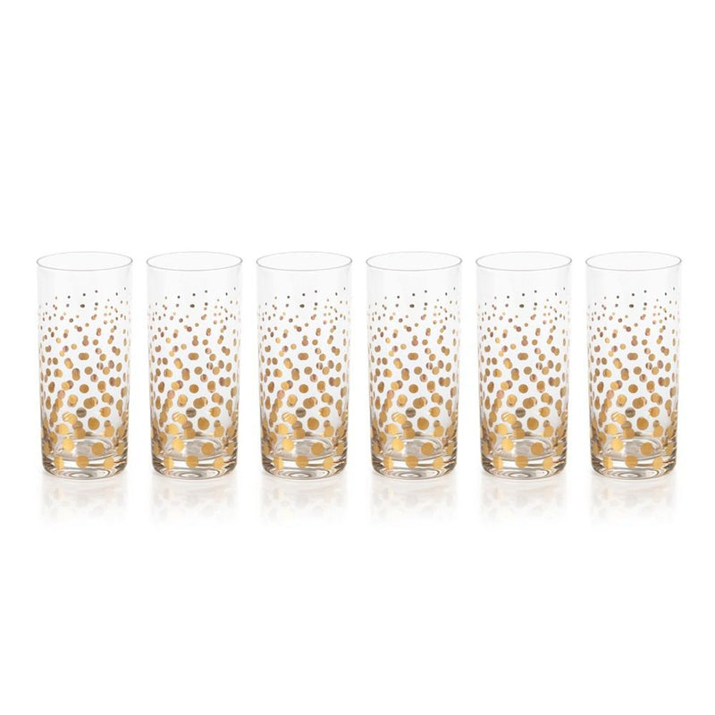 Zodax Seraphina Golden Dot Design Highball Glasses - Set of 6