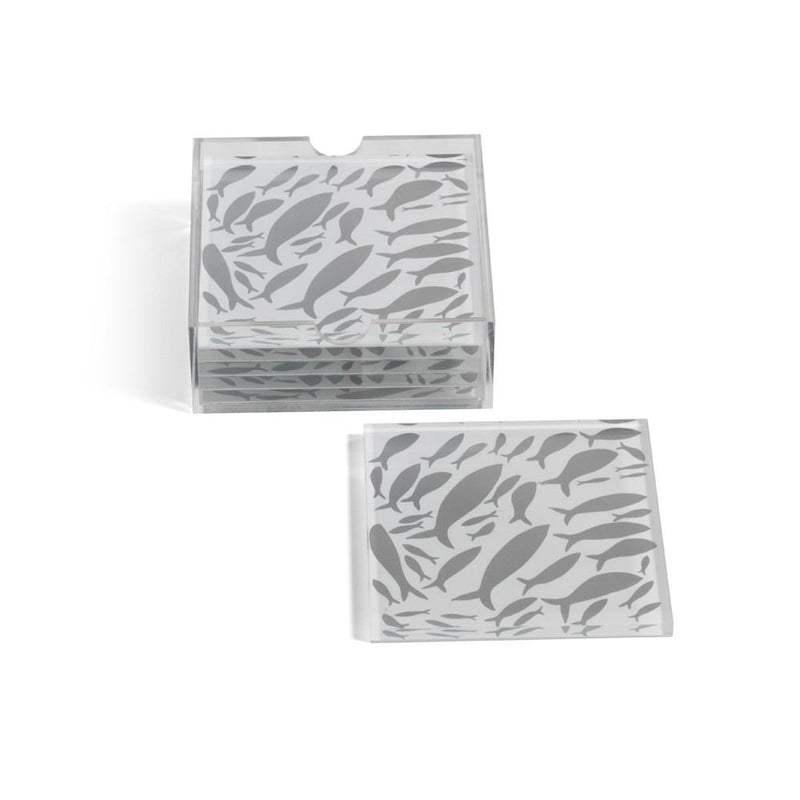Zodax School of Fish Coasters with Holder - Set of 6 - Square