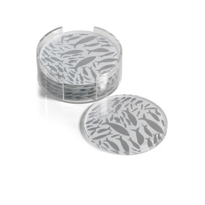 Zodax School of Fish Coasters with Holder - Set of 6 - Round