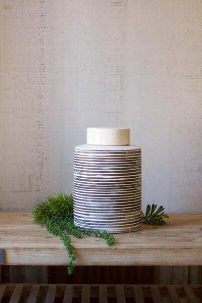 Kalalou Ceramic Grey Striped Canister - Small