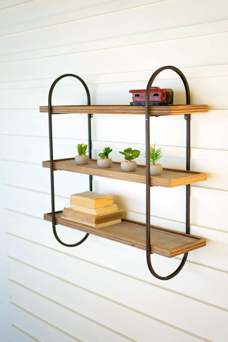 Metal Frame With Three Wooden Shelves By Kalalou