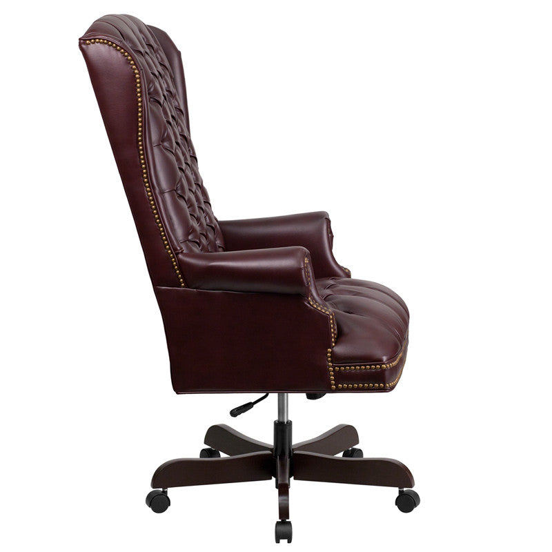 Flash Furniture High Back Traditional Tufted Burgundy Leather Executive Swivel Office Chair