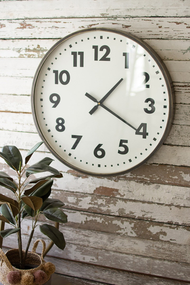 Round Black And White Wall Clock by Kalalou