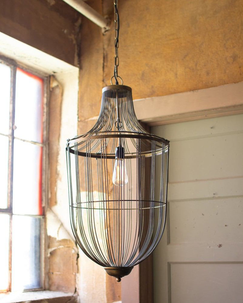 Kalalou Large Cage Pendant Light
