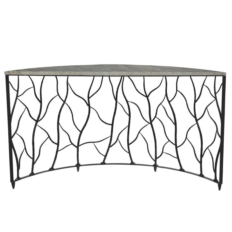 Crestview Collection Bengal Manor Iron and Marble Demilune Power Console