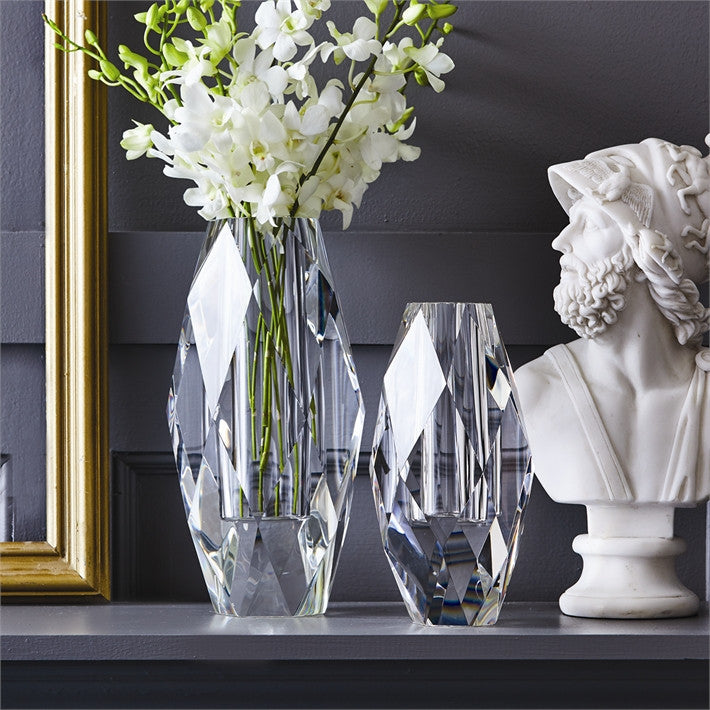 Tozai Home Clear Crystal Oval Vases - 2Pc/Box - Set Of 2