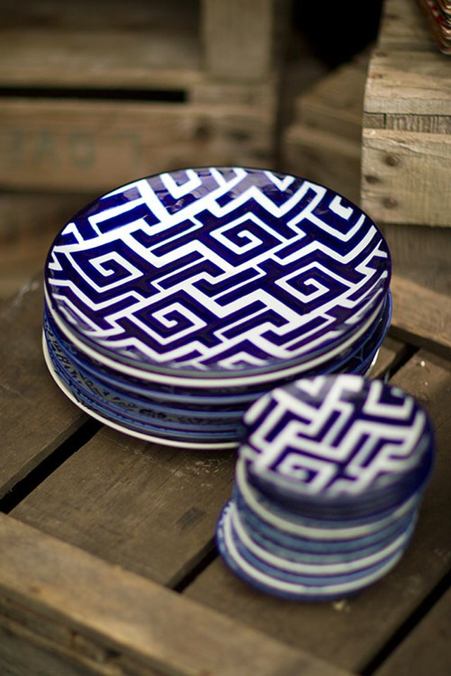 Handpainted Ceramic Moroccan Plates Set of 4  by Vagabond Vintage