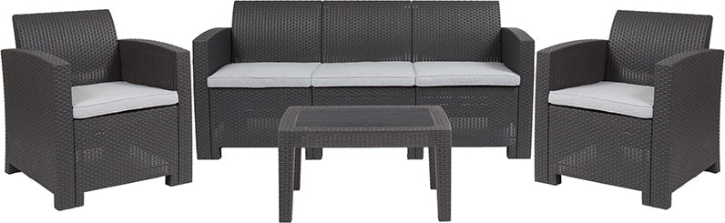 4 Piece Outdoor Faux Rattan Chair, Sofa and Table Set in Dark Gray by Flash Furniture