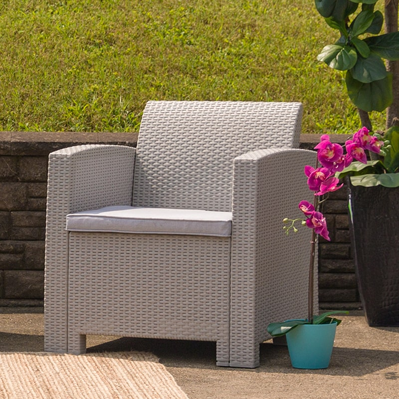 Light Gray Faux Rattan Chair with All-Weather Light Gray Cushion by Flash Furniture