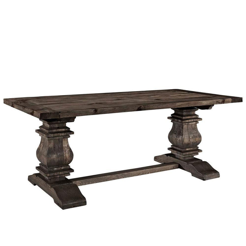 Modway Column Rectangle Wood Dining Table - Brown