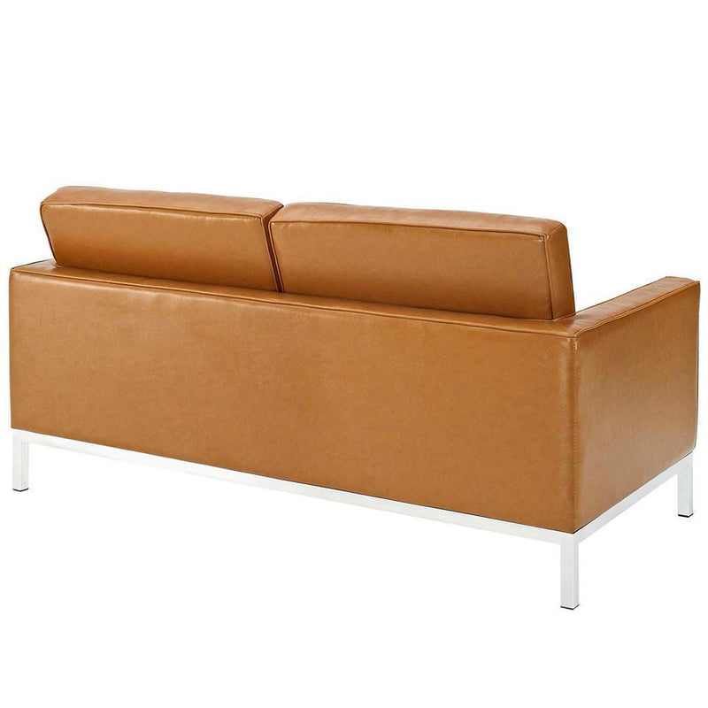 Modway Loft Loveseat and Sofa Leather 2 Piece Set - Tan