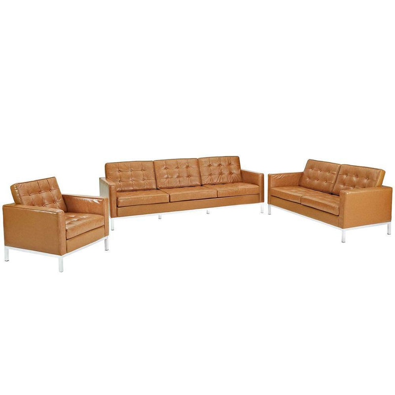 Modway Loft Armchair Loveseat and Sofa Set Leather 3 Piece Set - Tan