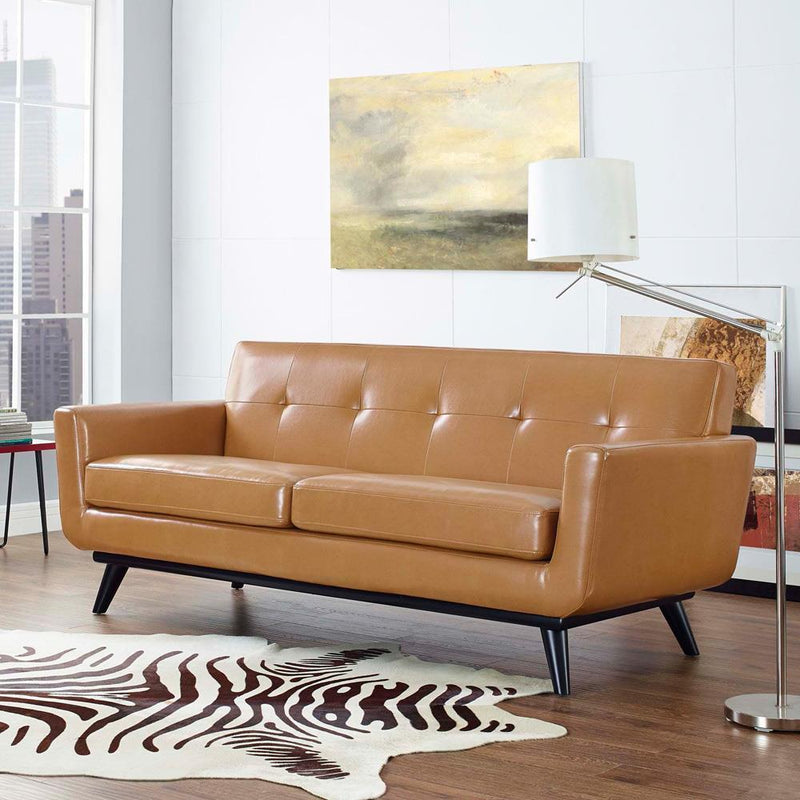 Modway Engage Bonded Leather Loveseat - Tan