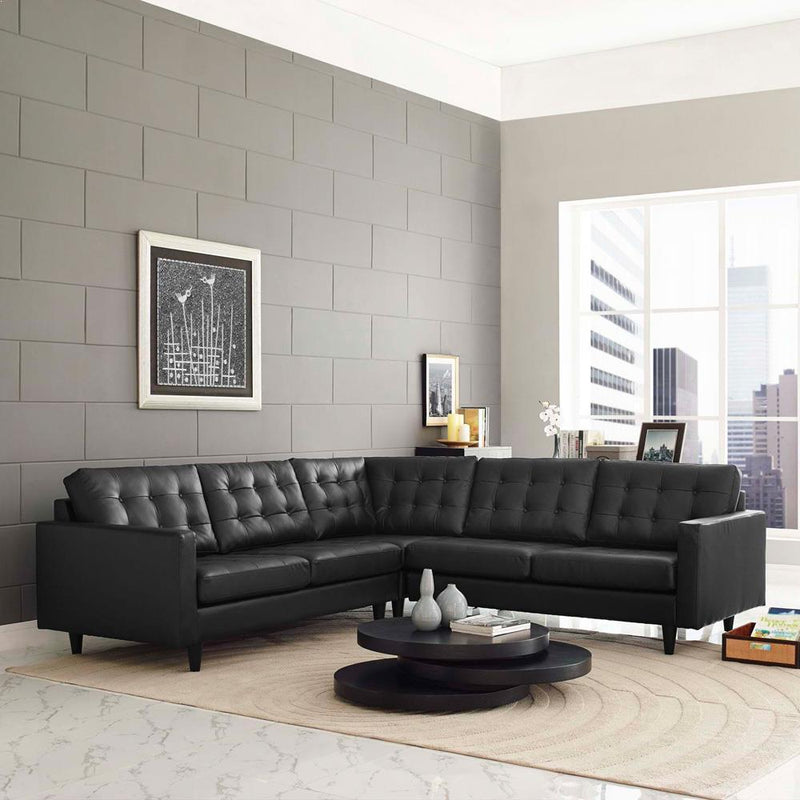 Modway Empress 3 Piece Bonded Leather Sectional Sofa Set - Black