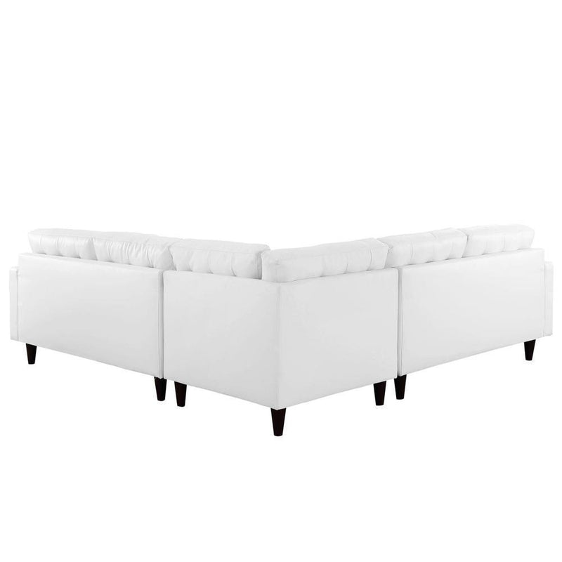 Modway Empress 3 Piece Bonded Leather Sectional Sofa Set - White