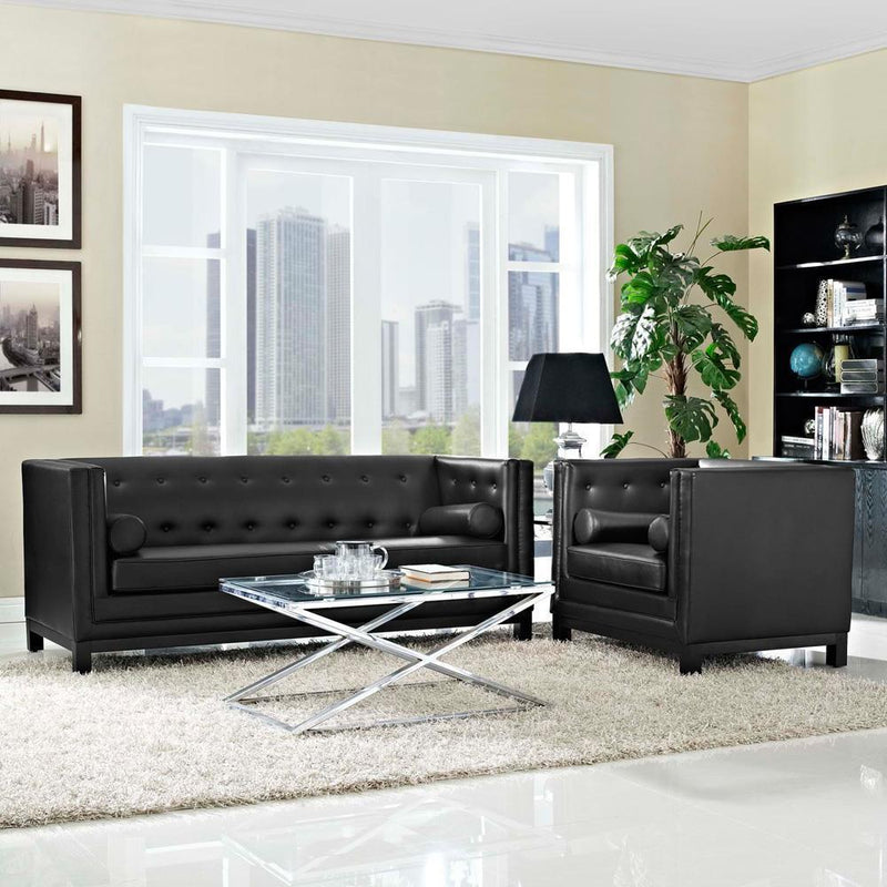 Modway Imperial 2 Piece Living Room Set - Black