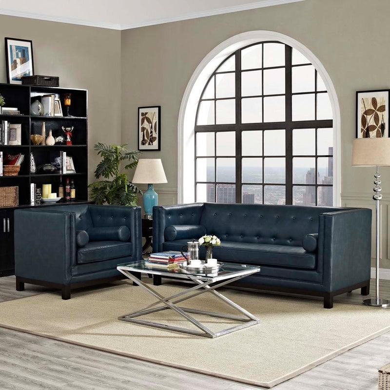 Modway Imperial 2 Piece Living Room Set - Blue
