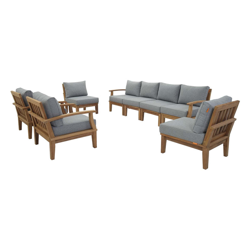 Modway Marina 8 Piece Outdoor Patio Teak Sofa Set