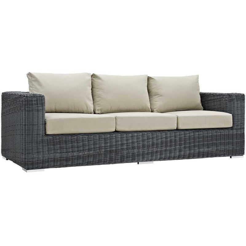 Modway Summon 3 Piece Outdoor Patio Sunbrella Sectional Set - Canvas Antique Beige