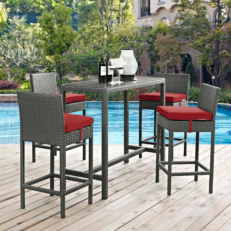 Modway Sojourn 5 Piece Outdoor Patio Sunbrella Pub Set - EEI-1968