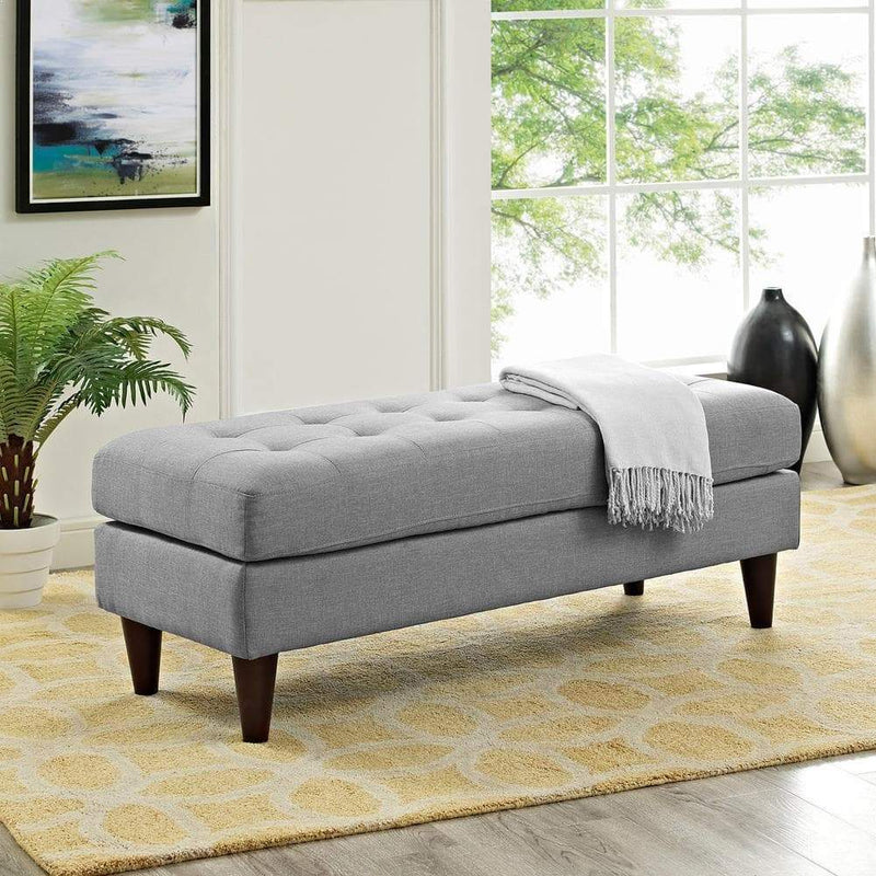 Modway Empress Upholstered Fabric Bench - Light Gray