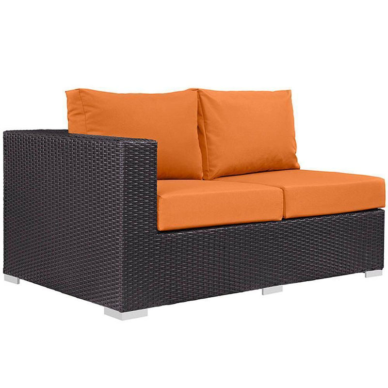 Modway Convene 11 Piece Outdoor Patio Sectional Set - Espresso Orange