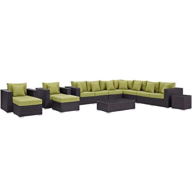 Modway Convene 11 Piece Outdoor Patio Sectional Set