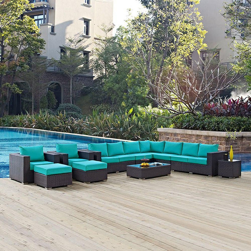 Modway Convene 11 Piece Outdoor Patio Sectional Set - Espresso Turquoise